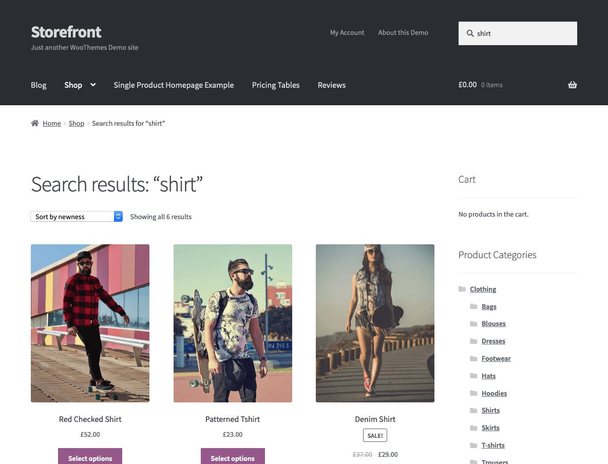 Screenshot of search in a custom theme