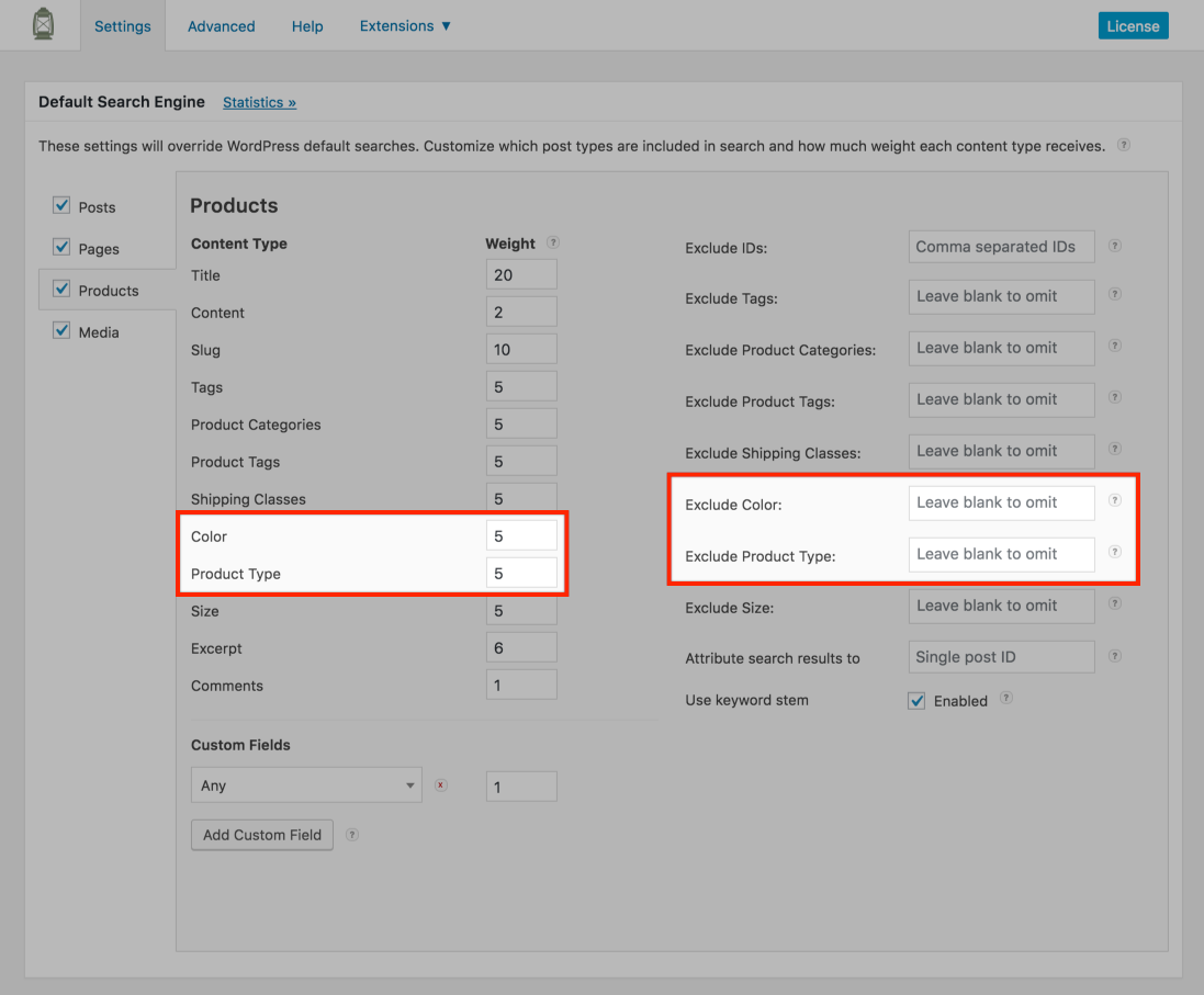 Screenshot of WooCommerce Product Attributes in SearchWP