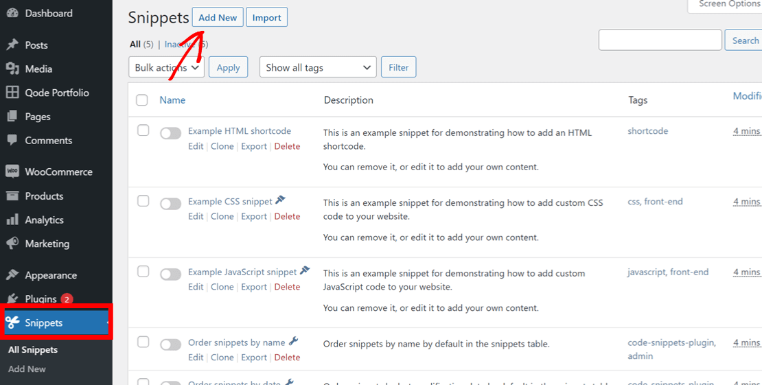 Add new WordPress code snippet