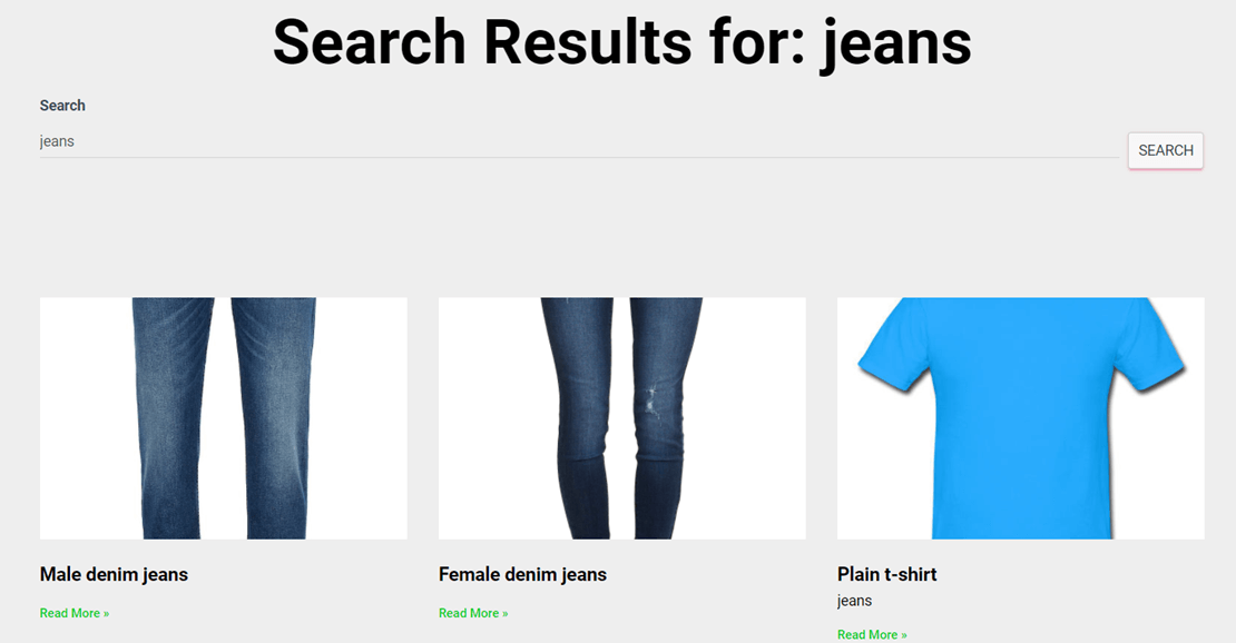 Default WooCommerce product search results
