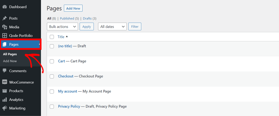 Go to all pages in WordPress