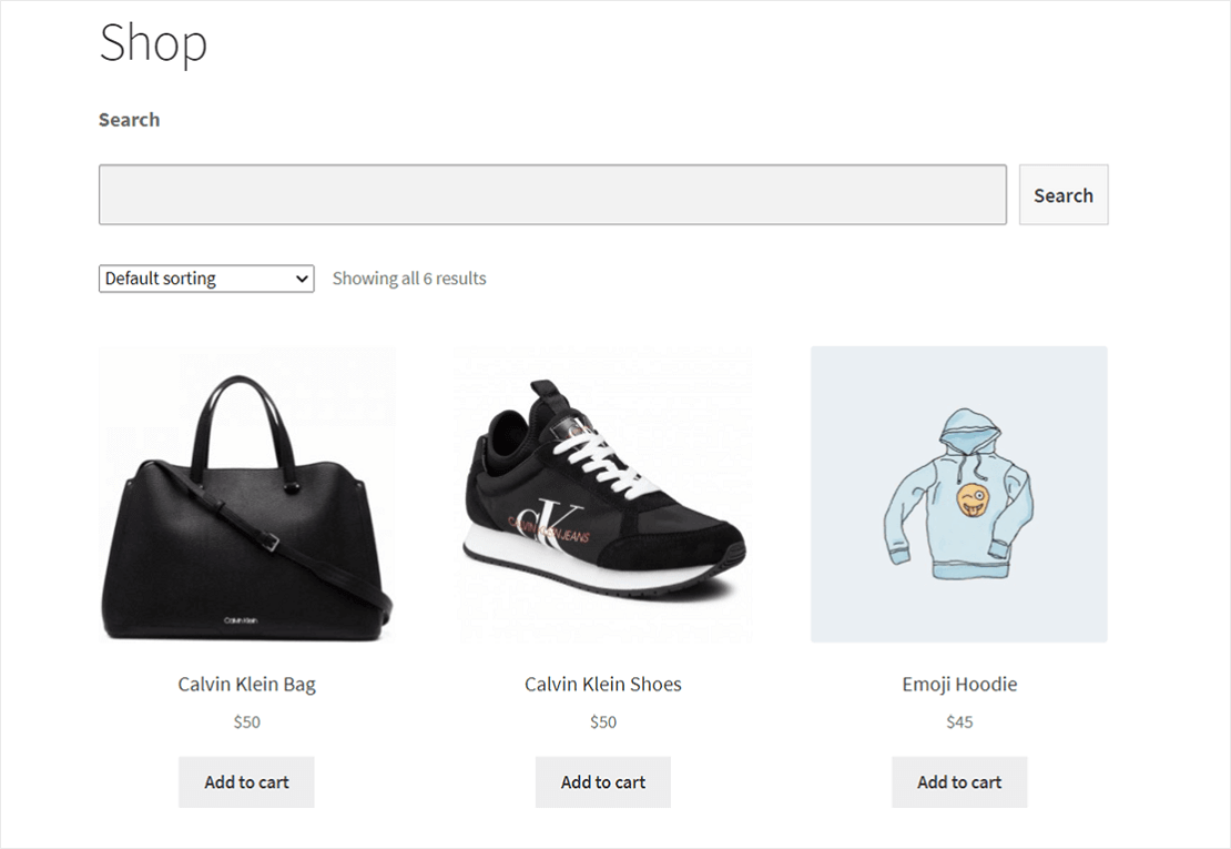 Search form at the top of WooCommerce shop page