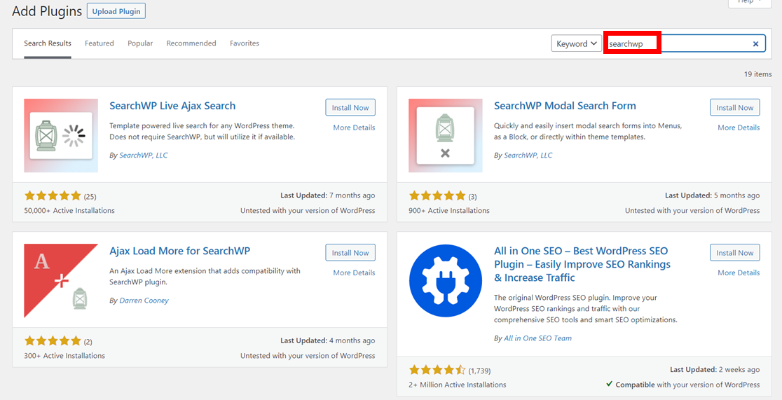 SearchWP add-on plugins