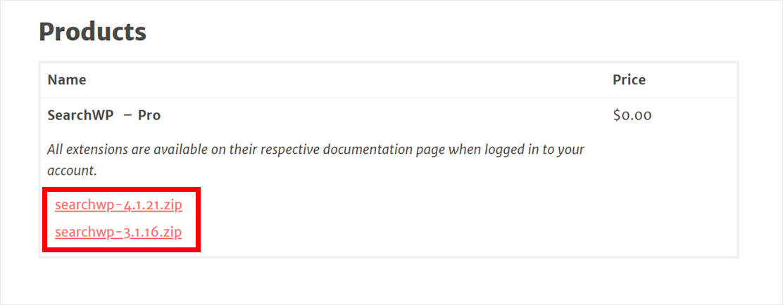 SearchWP plugin download links