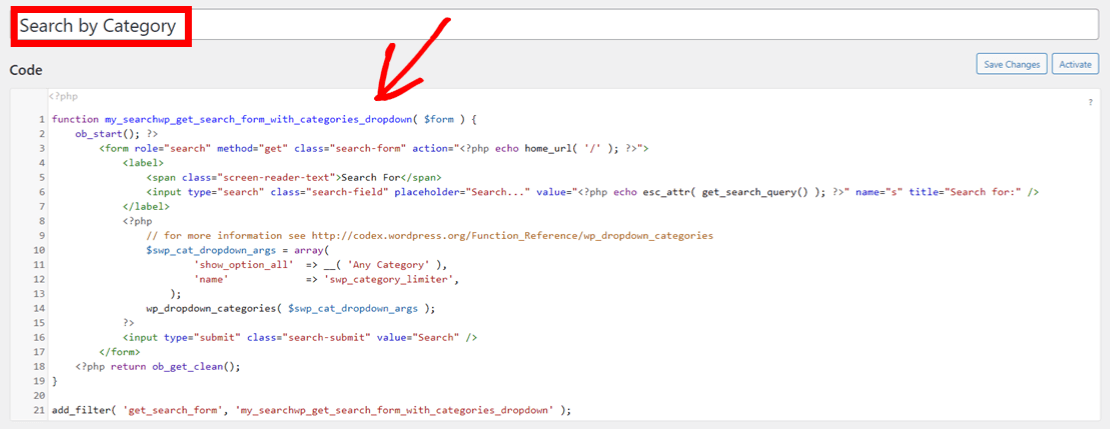 WordPress search by category code snippet