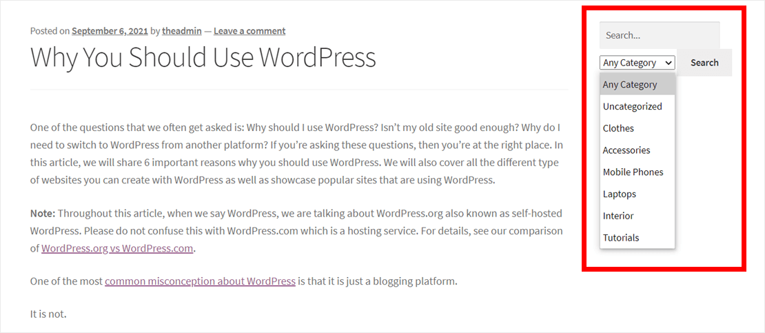 WordPress search by category in action
