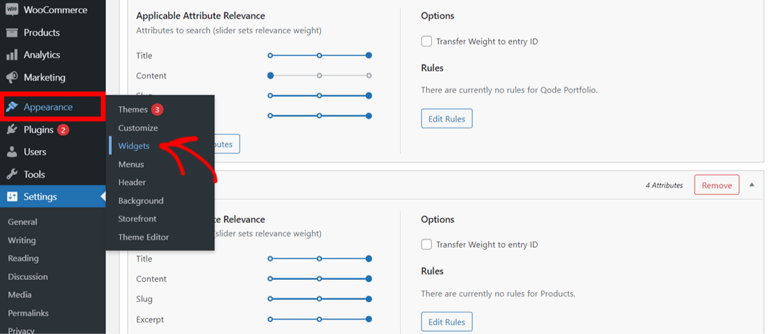 WordPress widgets settings
