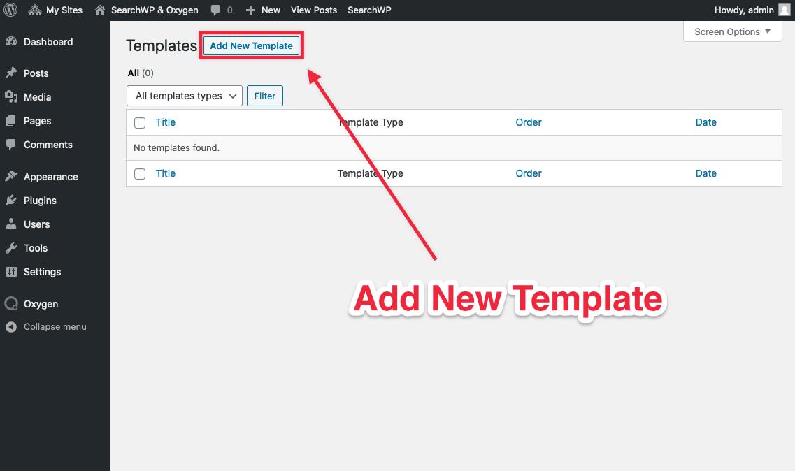 Screenshot of Add New Template button