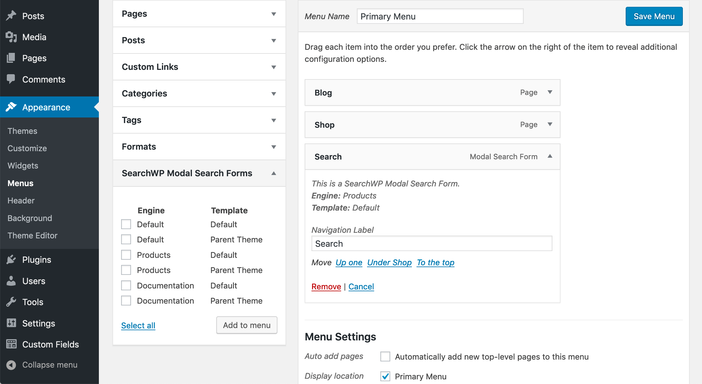 Screenshot of SearchWP Modal Form's Menu customization options