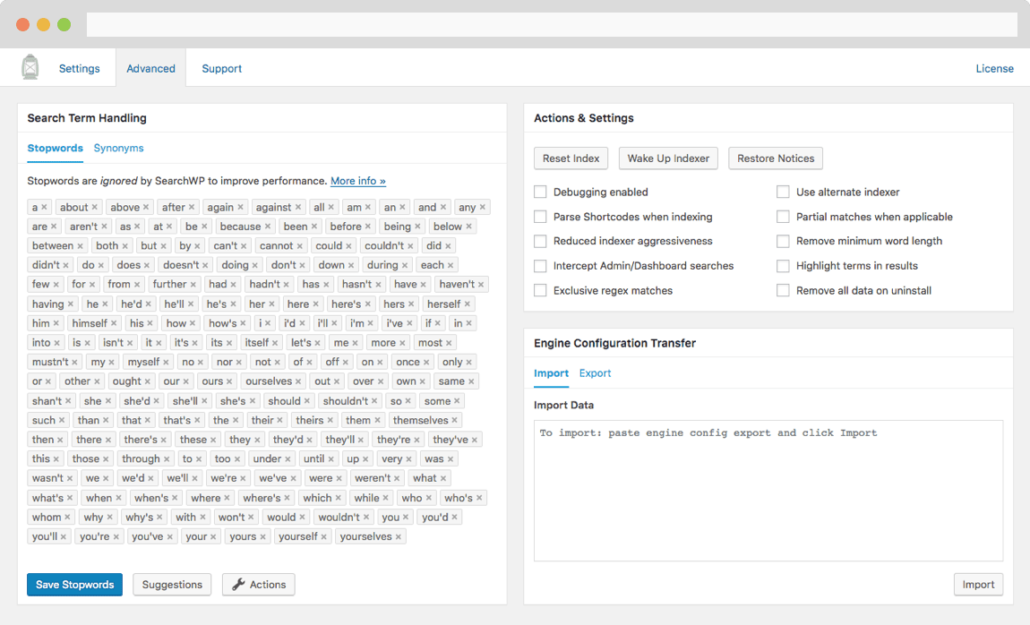 Screenshot of SearchWP's Advanced settings screen