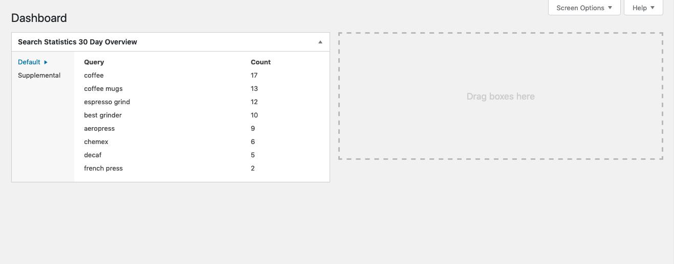 Screenshot of Dashboard Widget