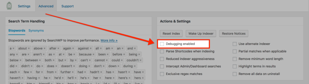 Screenshot highlighting debugging toggle in SearchWP
