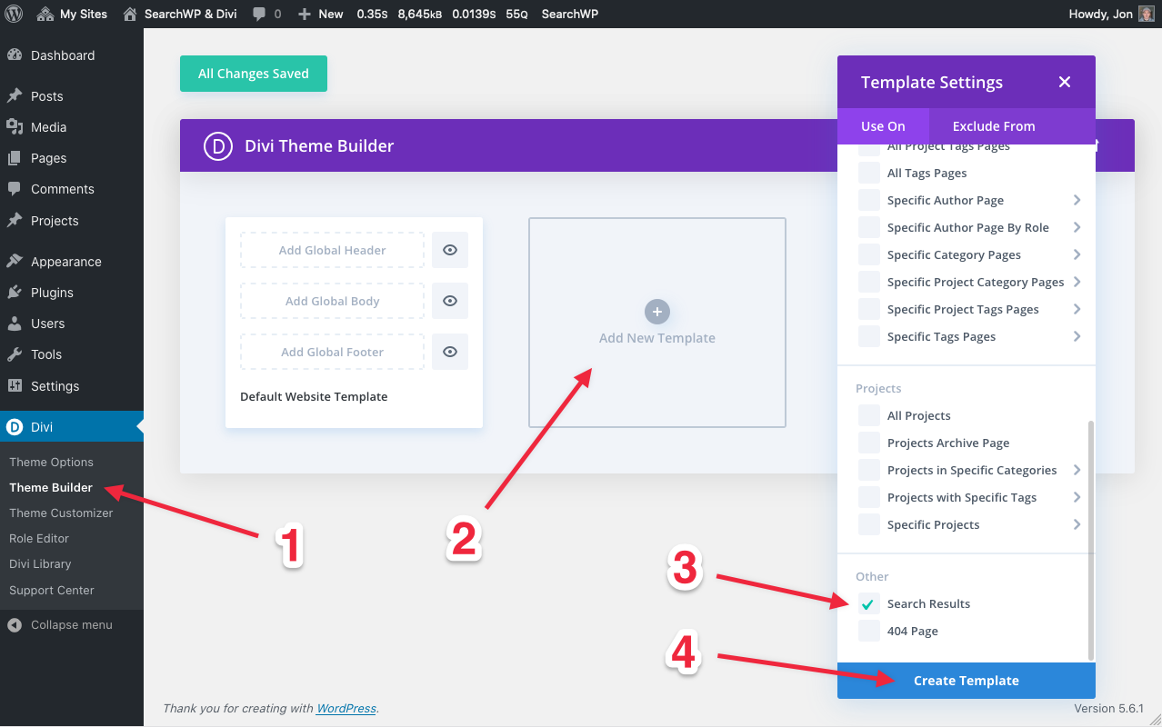 Screenshot of creating search results template in Divi