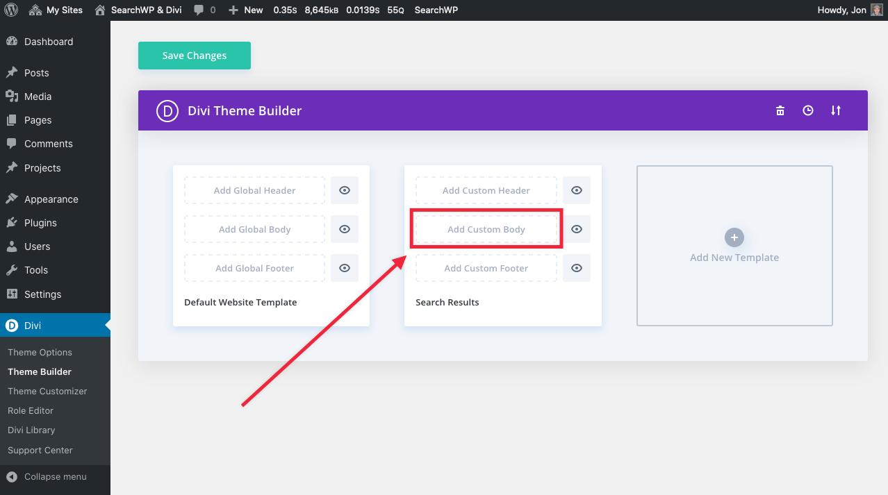 Screenshot of Add Custom Body to Search Results Template in Divi