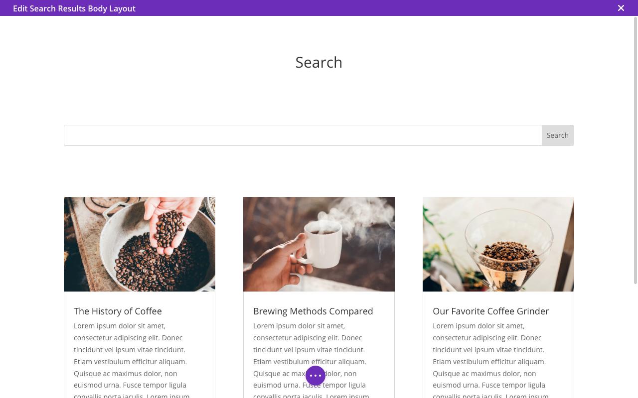 Screenshot of Divi Blog Module Search Results Template