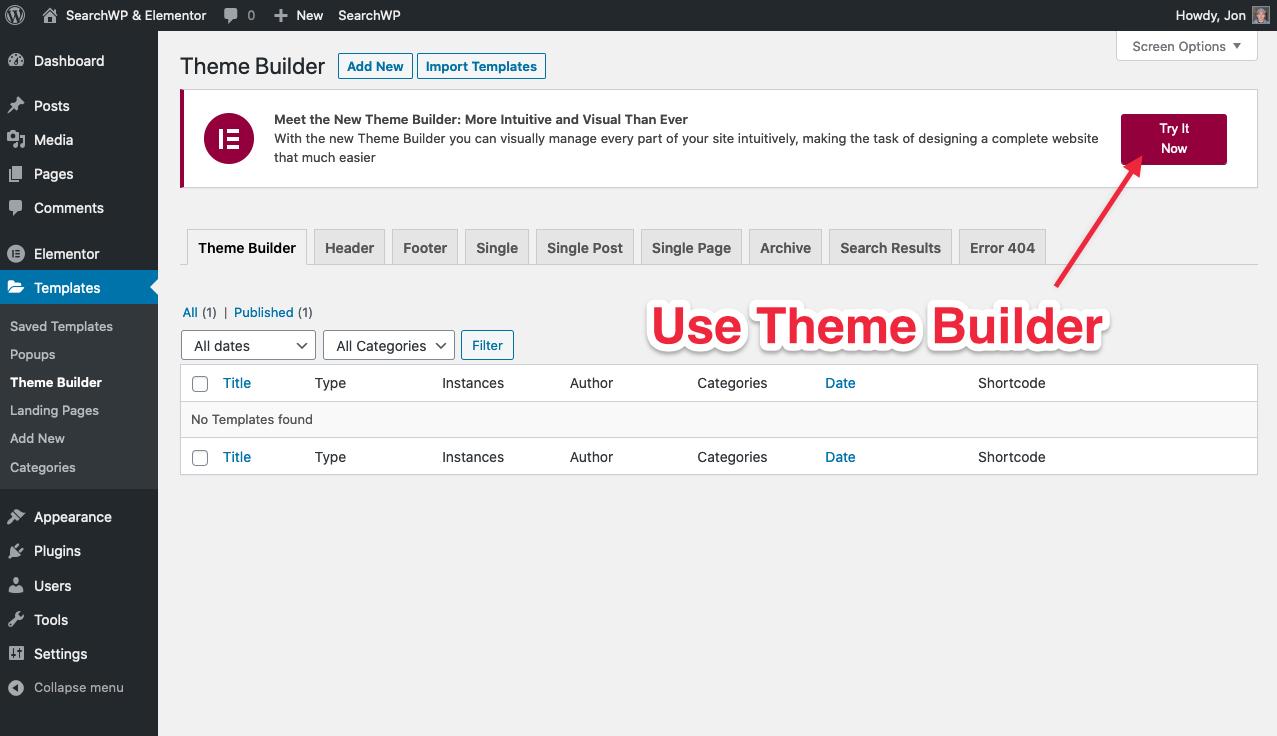 Screenshot of Elementor Theme Builder button