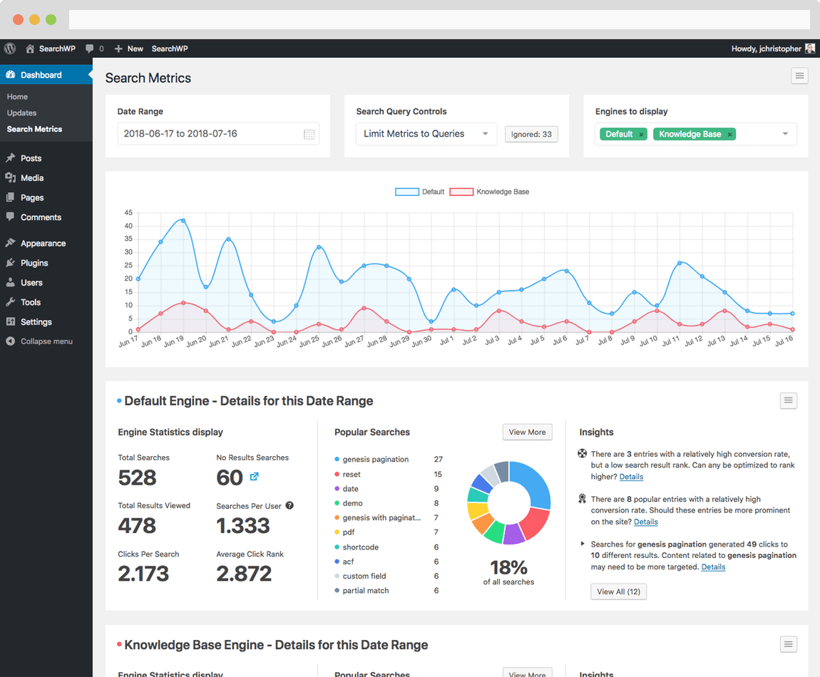 Screenshot of SearchWP Metrics main interface