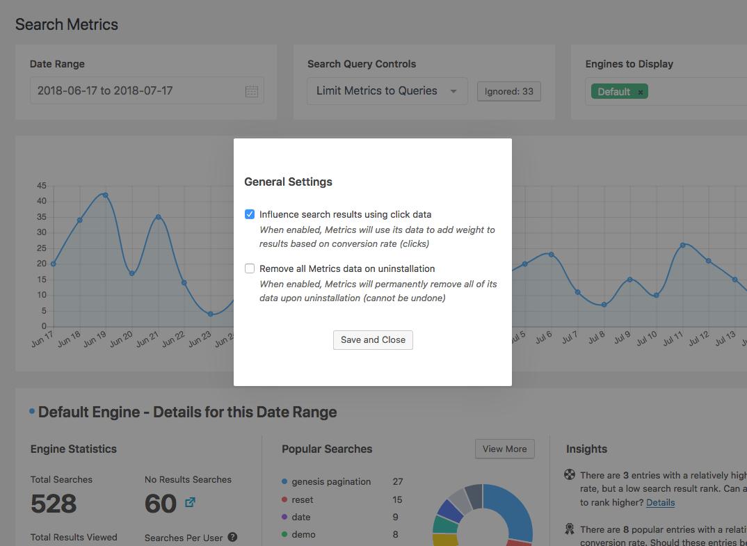 Screenshot of general settings for Metrics