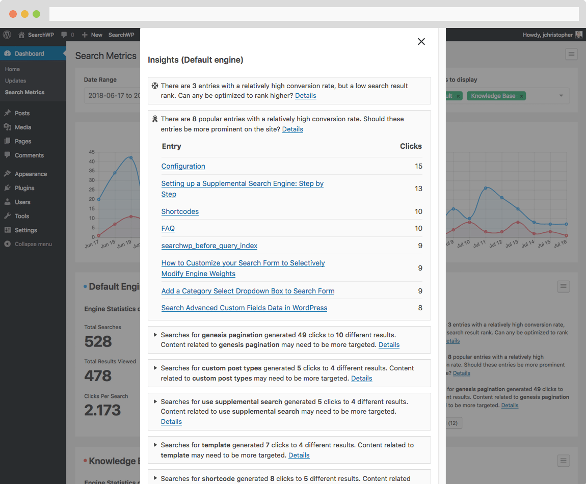 Screenshot of Insights within Metrics