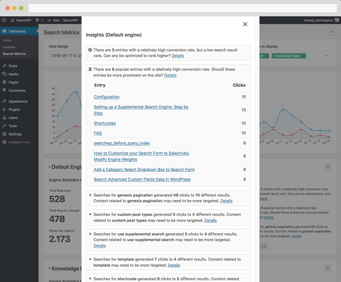 Screenshot of Insights within Metrics