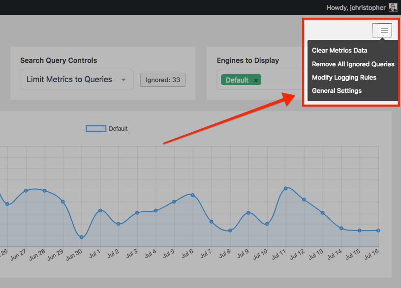 Screenshot of the settings in Metrics