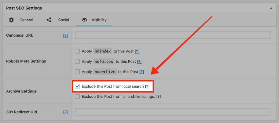 Screenshot of local search exclusion checkbox in SEO Framework