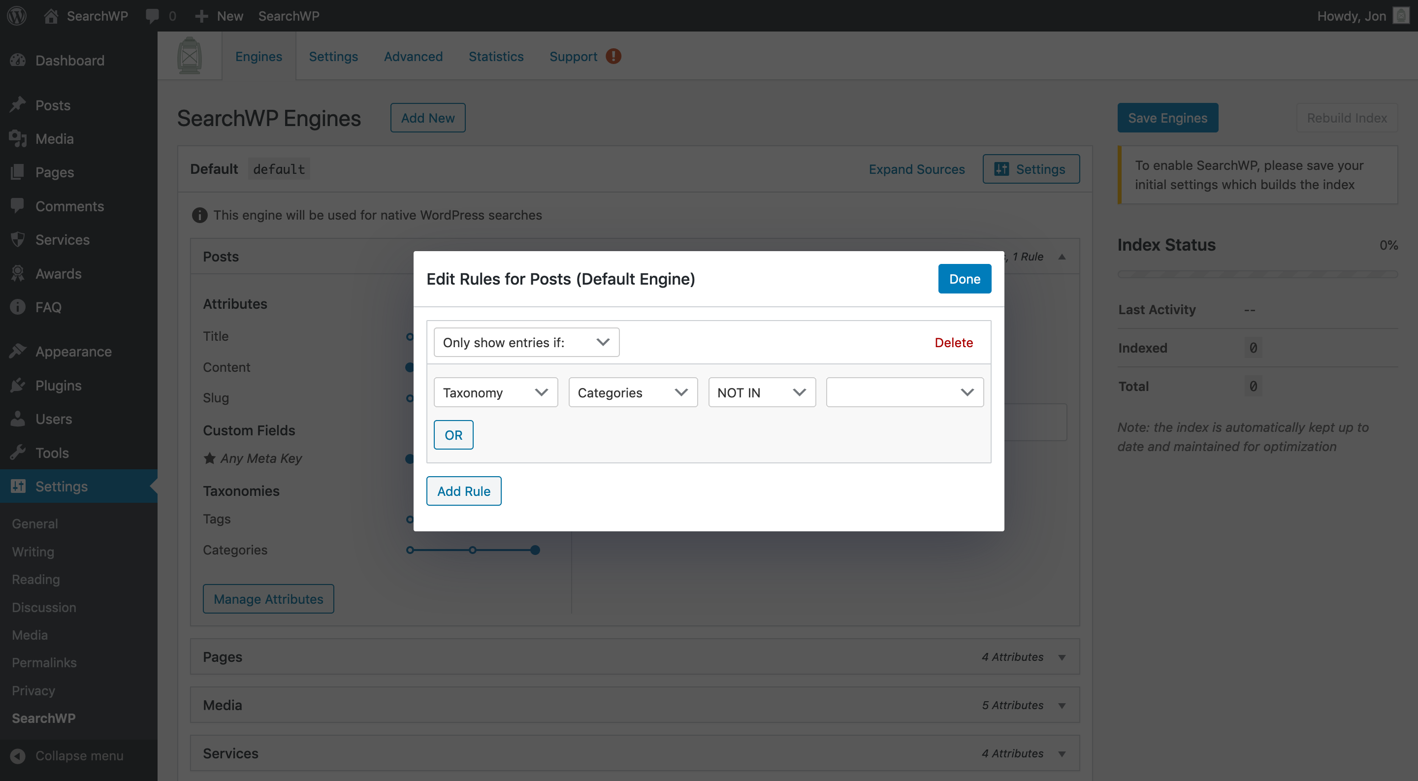 Screenshot of SearchWP Engine Source Rules management