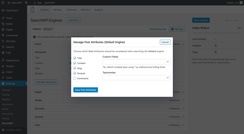 Screenshot of Source Attribute management