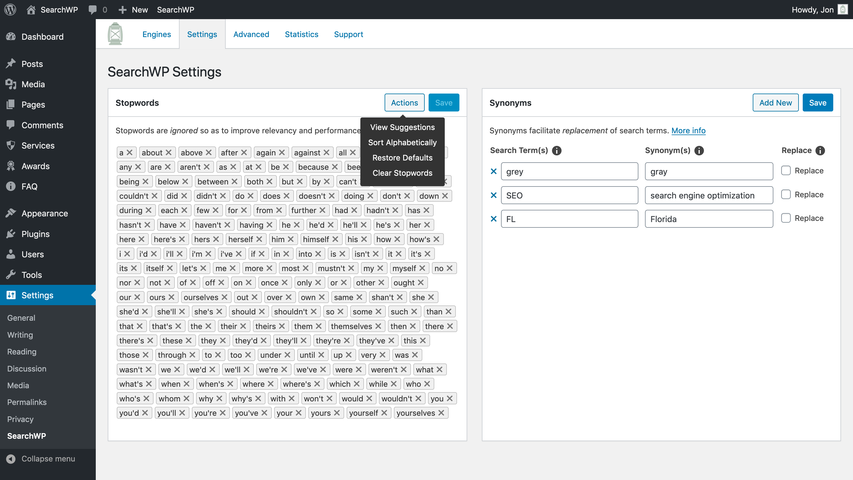 Screenshot of SearchWP's Stopwords and Synonyms UI