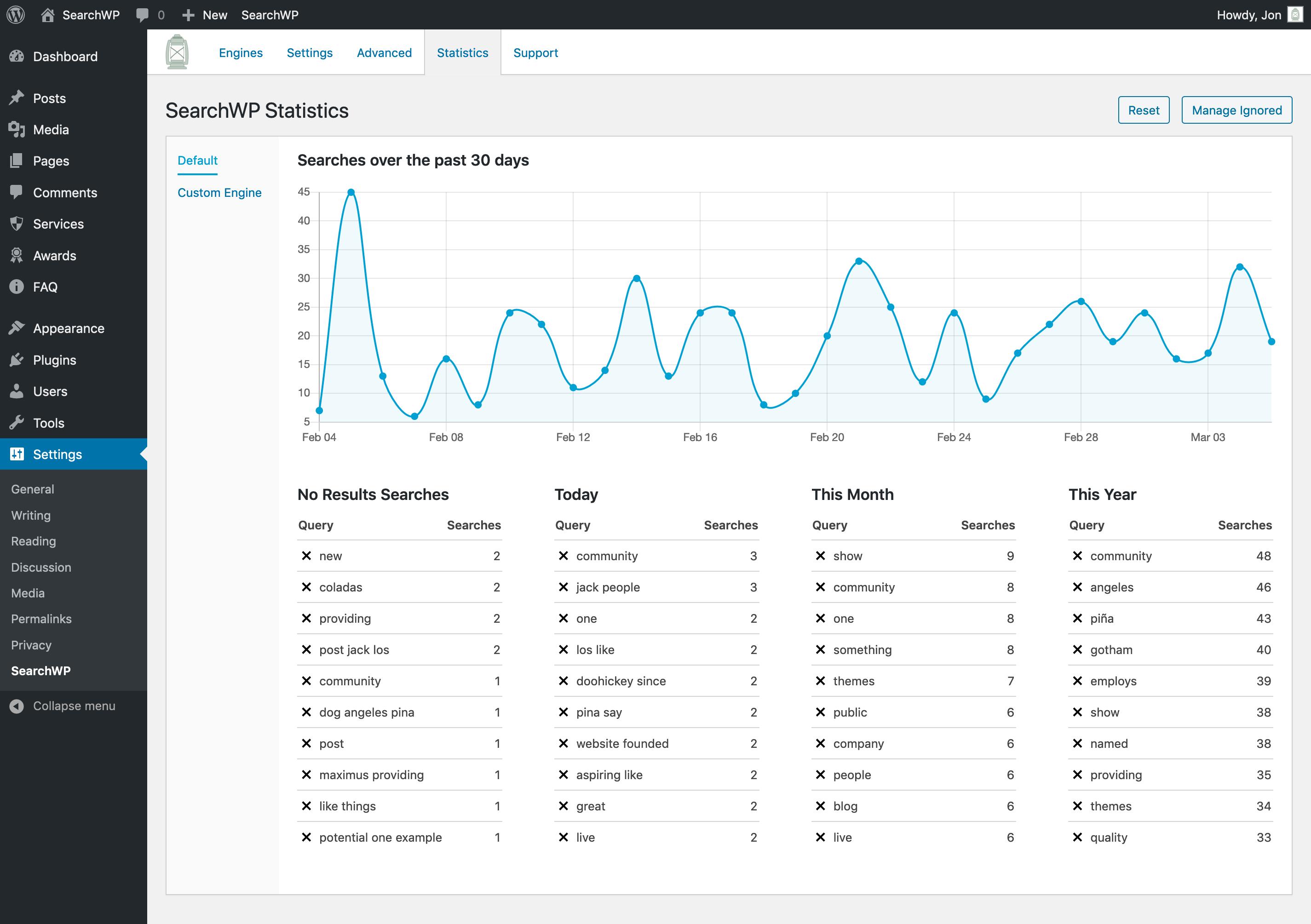 Screenshot of SearchWP's Statistics