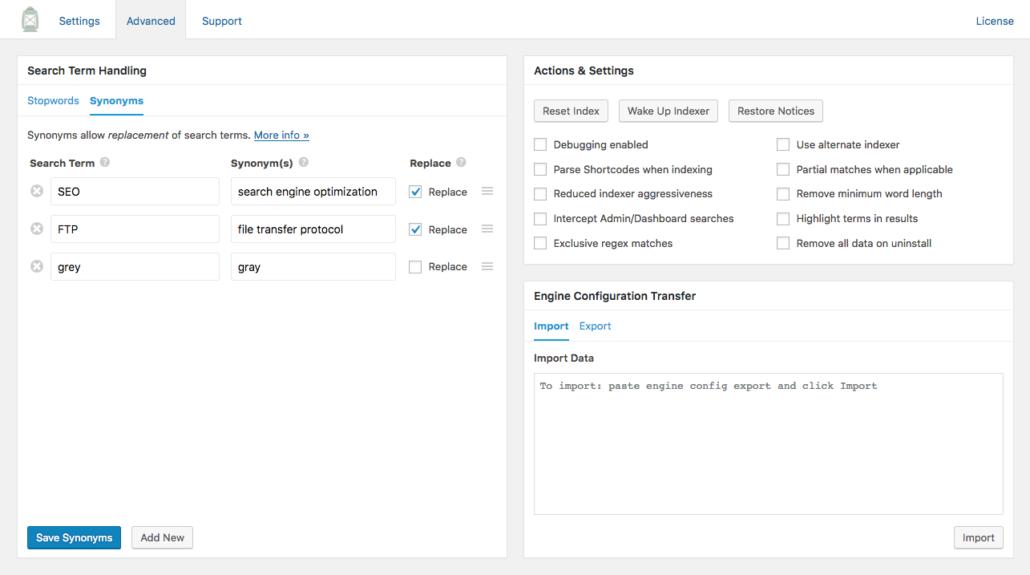 Screenshot of synonym handling in SearchWP