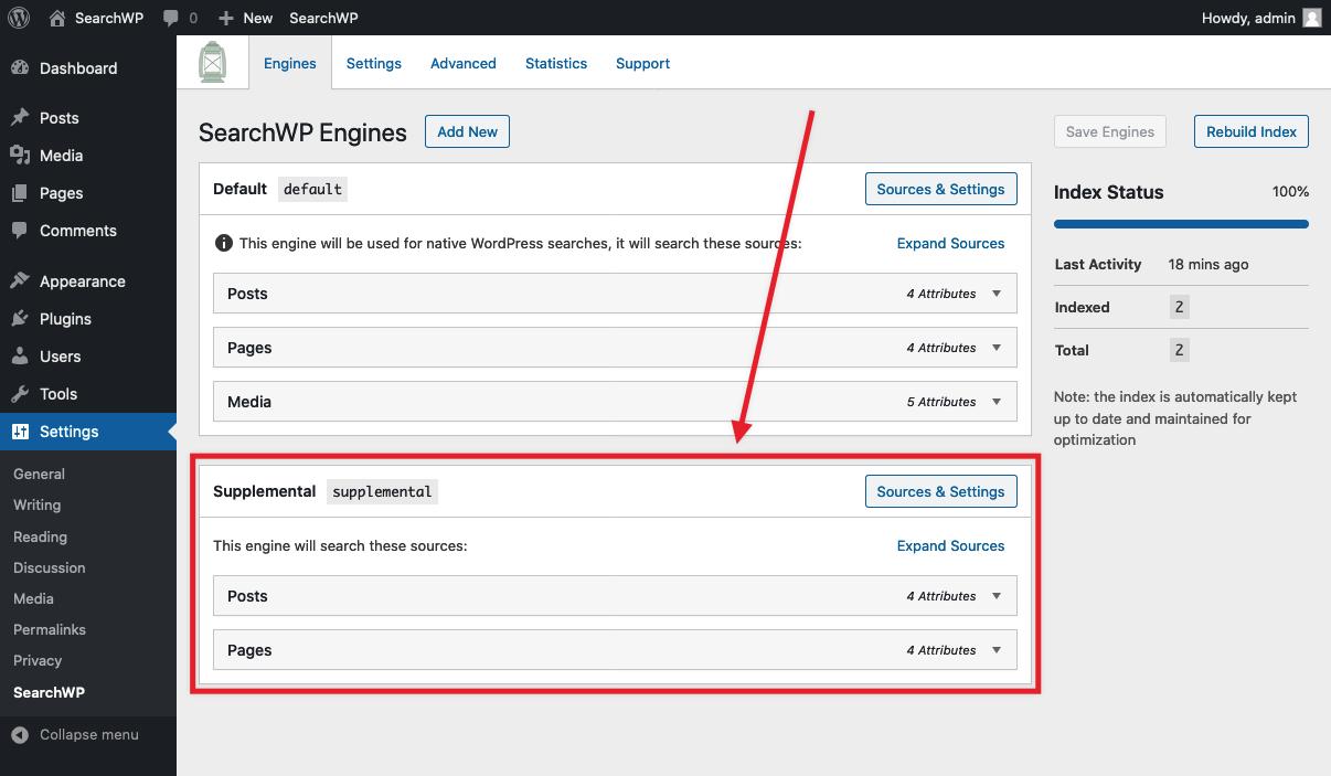 Screenshot of SearchWP Engines tab