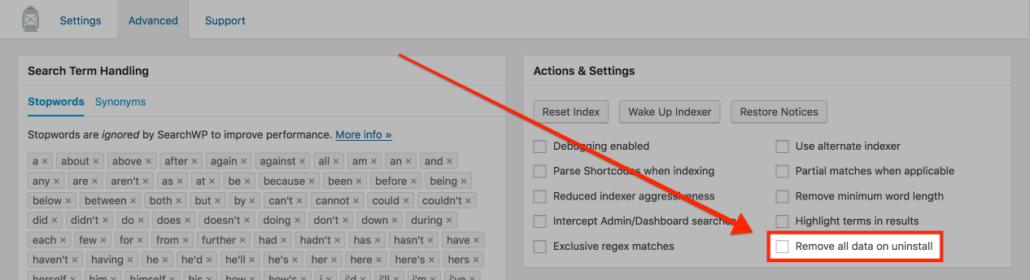 Screenshot of SearchWP's Advanced settings screen