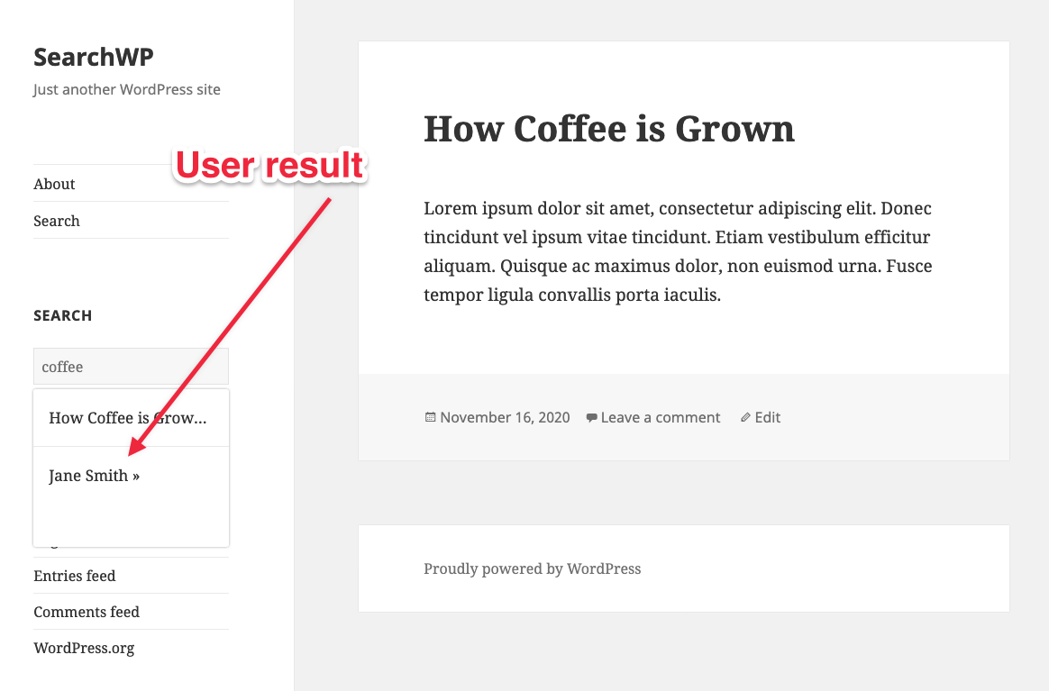 User result