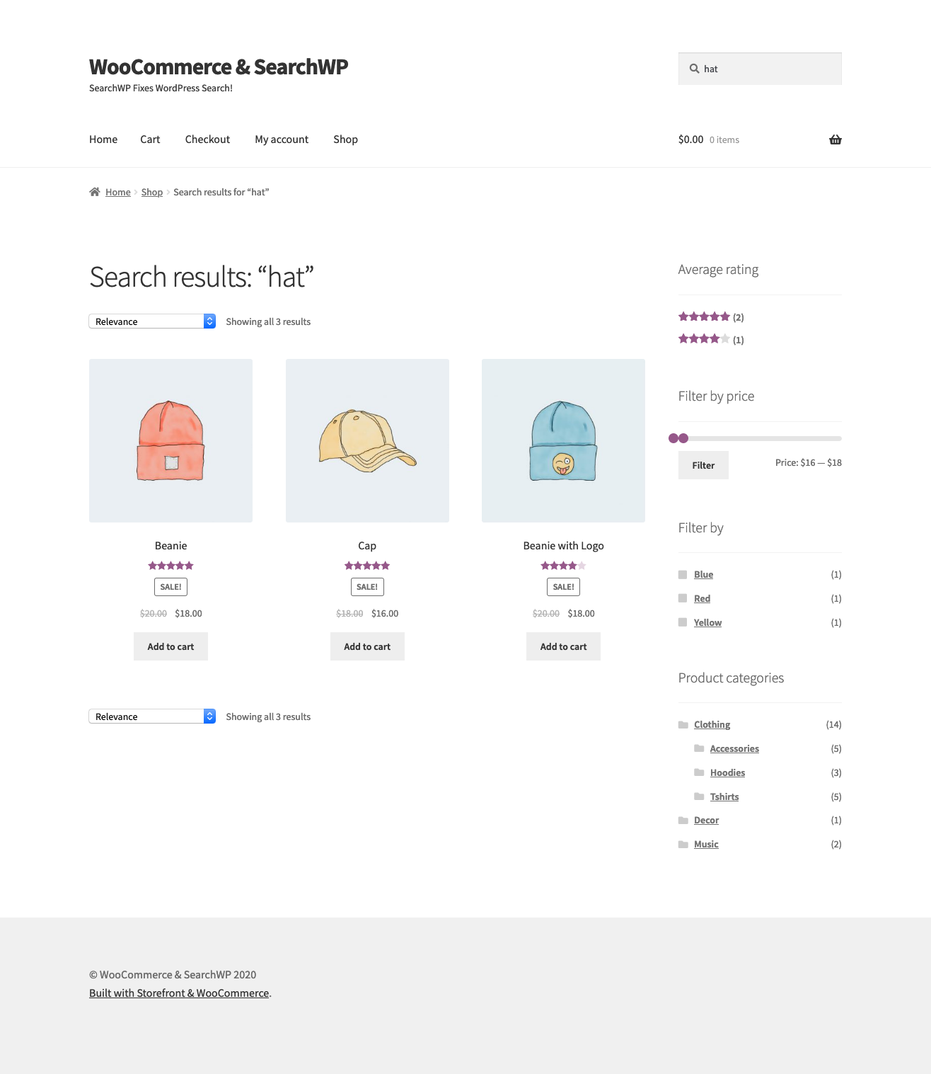 Screenshot of SearchWP and WooCommerce finding results