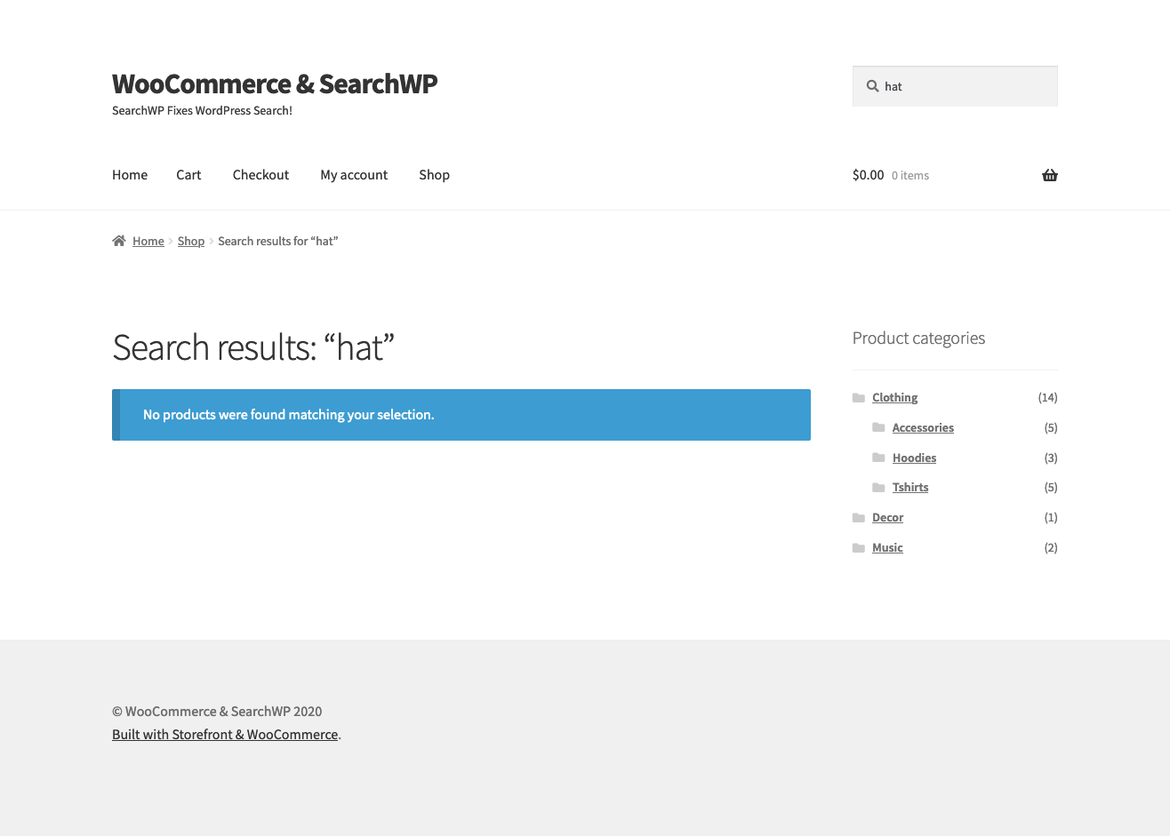 Screenshot of empty search results