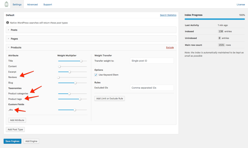 Screenshot of WooCommerce Product configuration in SearchWP