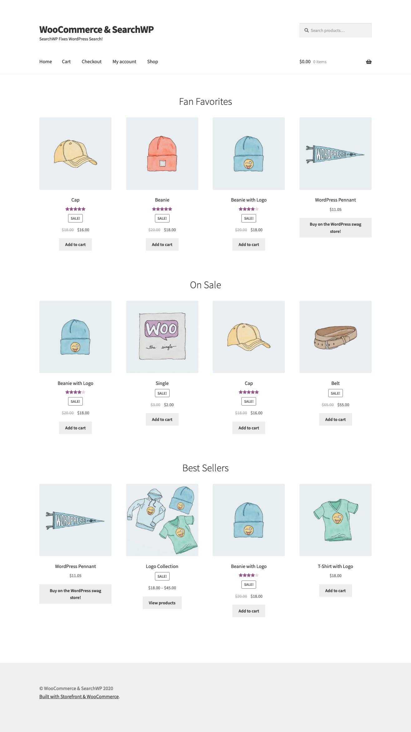 Screenshot of WooCommerce store
