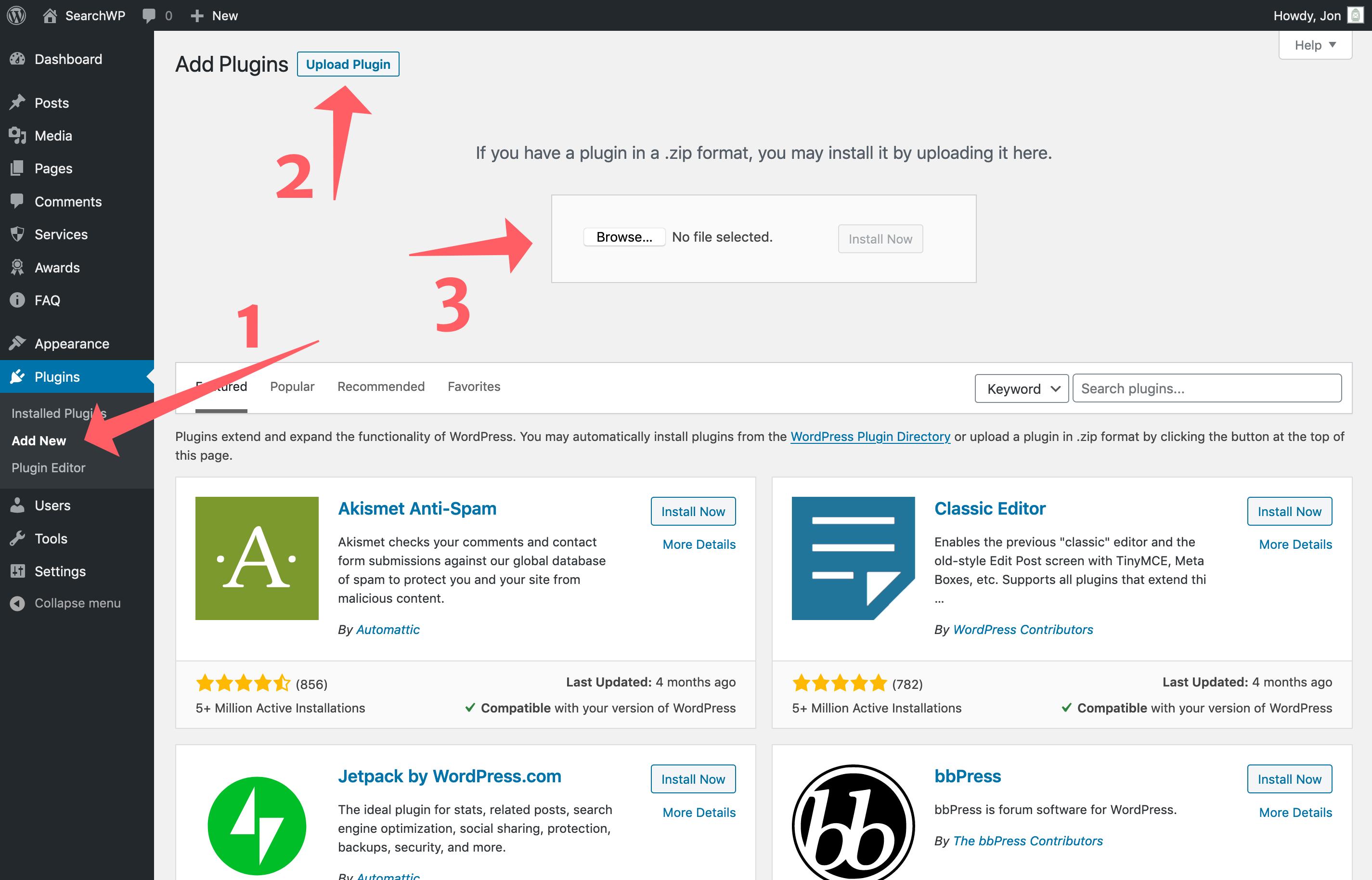 Screenshot of installing SearchWP