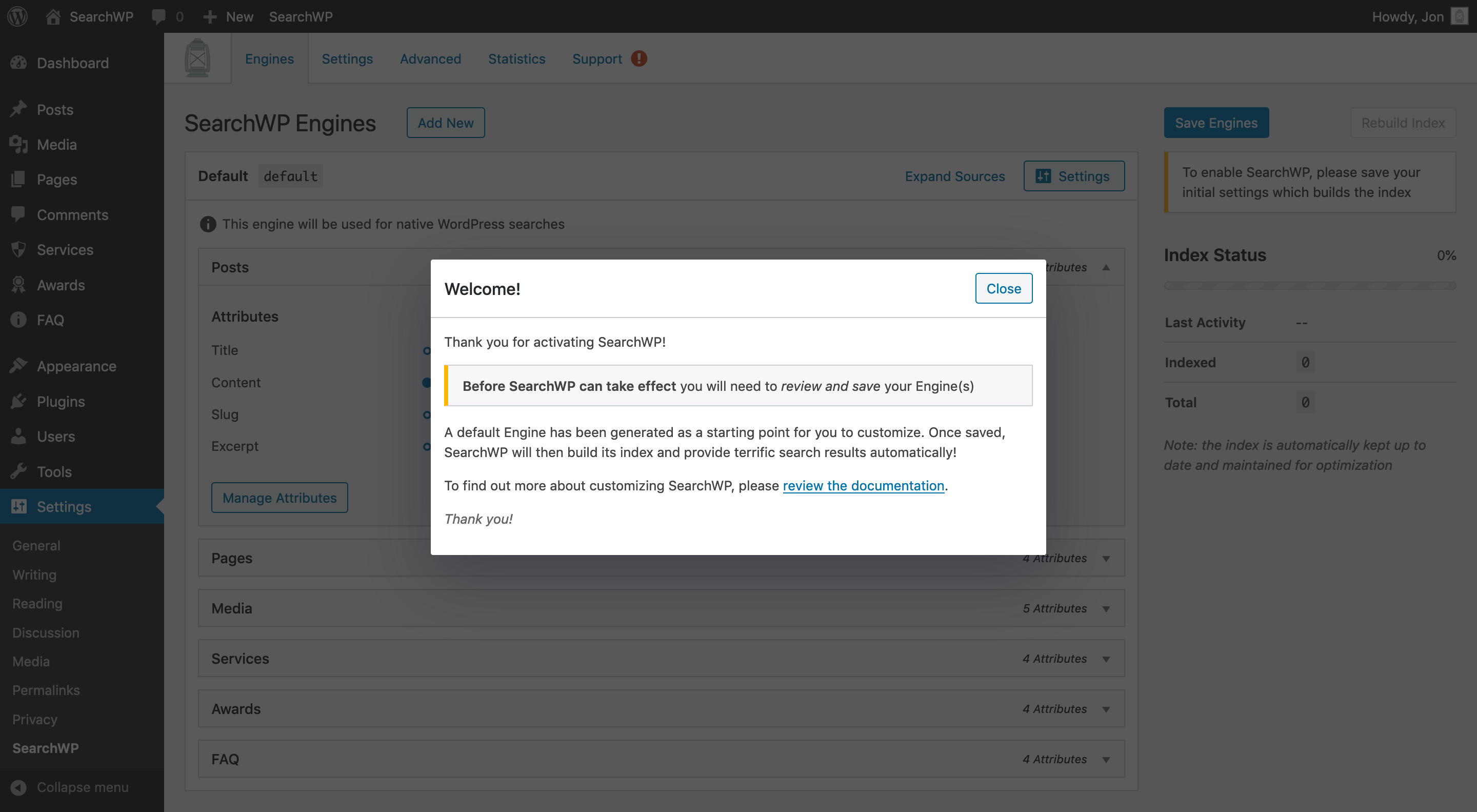 Screenshot of the Welcome dialog in SearchWP